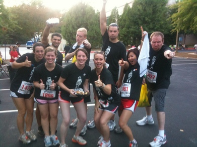 An Excited Tribe After A 5 K T-Shirt Photo