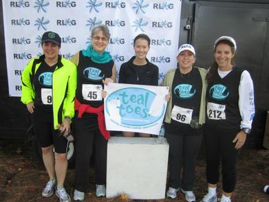 Team Teal Toes Runs Like A Girl T-Shirt Photo