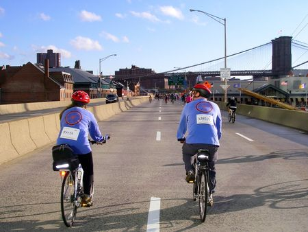 Ms Bike Ny, Approaching Brooklyn Bridge T-Shirt Photo