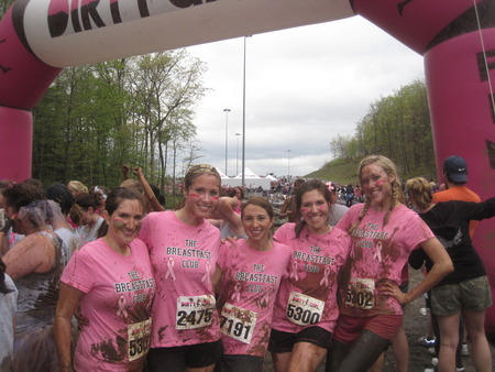 The 'Breastfast' Club Getting Dirty In Our Custom Ink Shirts At The Dirty Girl Mud Run 2012! T-Shirt Photo