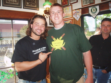 Nick Swisher With Me Wearing The Swisher Sweet's Shirt T-Shirt Photo