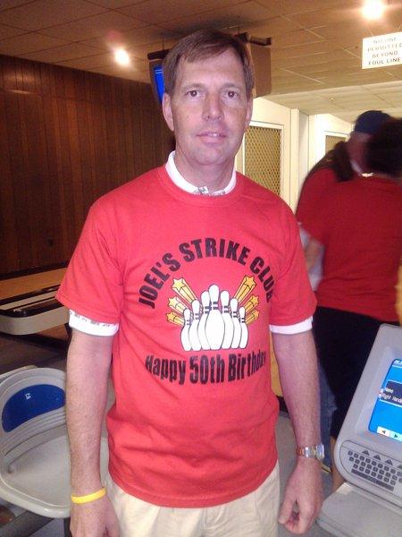 Joel's 50th Surprise Bowling Birthday  T-Shirt Photo