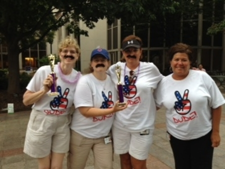 American Cancer Society's Relay For Life   Walking For Alan Team #1, Winners Of Largest Amount Of Donations And Best Team Campsite! T-Shirt Photo