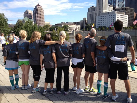Strides For Hope With Columbus Skyline T-Shirt Photo