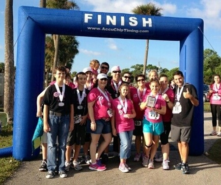 Team Kick Cancer At Every Boob Counts 5 K T-Shirt Photo