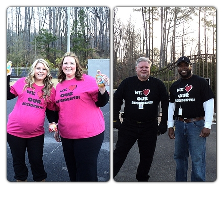Providing Breakfast On The Run To Our Residents On Valentine's Day At Tapestry Park Apartments T-Shirt Photo