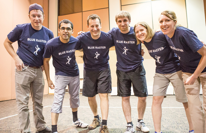 Blue Raster Dodgeball Team At Esri Dev Summit T-Shirt Photo