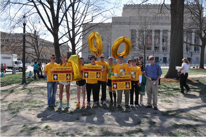 Terri Menghini's 100th Marathon T-Shirt Photo