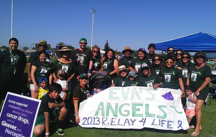 Granado Family & Friends Team Eva's Angels At Livingston, Ca Relay For Life On April 20, 2013 T-Shirt Photo