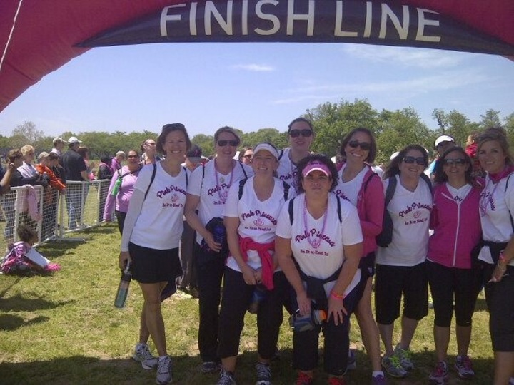 The Pink Princesses At The Finish Line After Walking 39.3 Miles! T-Shirt Photo