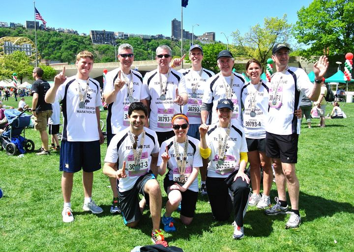 The Virtue Family @ Pittsburgh Marathon May 2013 T-Shirt Photo