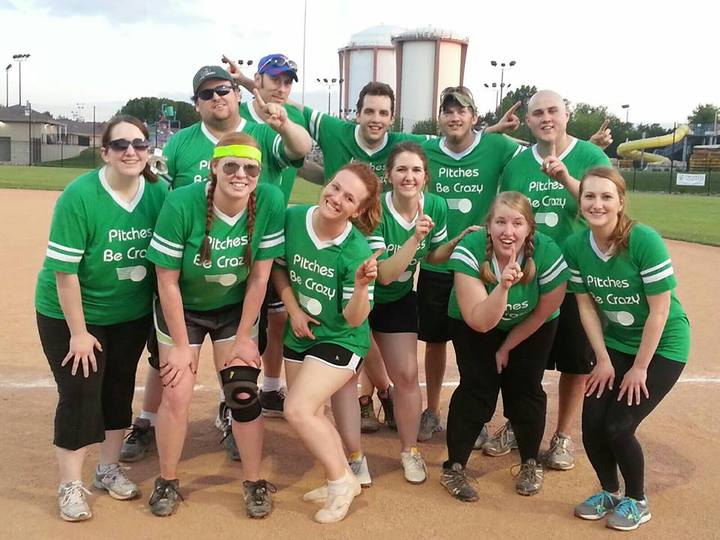 Pitches Be Crazy Kickball Team Photo T-Shirt Photo