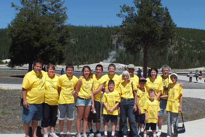 The Family At Old Faithful, Yellowstone 7 23 2013 T-Shirt Photo