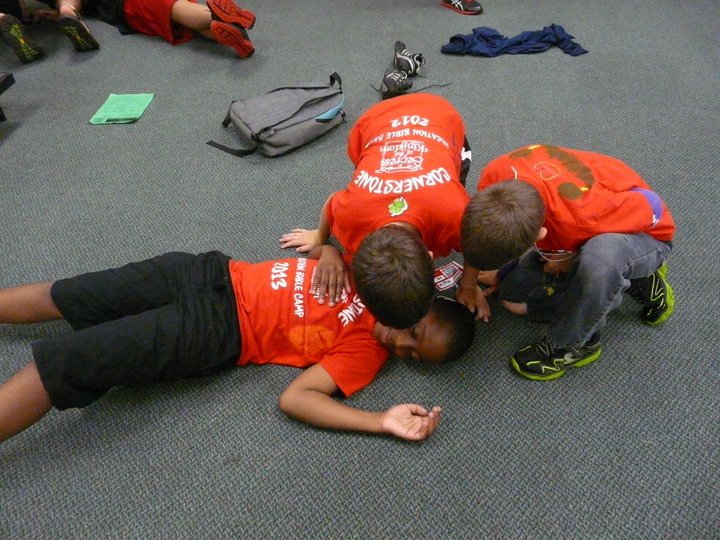 Cornerstone's Kids Playing In Custom Ink Shirts During Vbc T-Shirt Photo