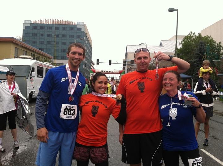 At The Finish, Finally.  3:39:45. T-Shirt Photo