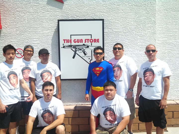 Superman At The Shooting Range T-Shirt Photo