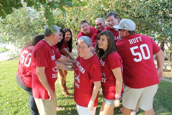 50th Anniversary Oklahoma Tailgate Huddle! T-Shirt Photo