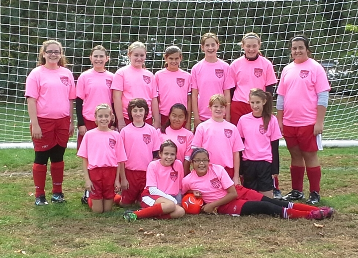 Wilson Soccer Club U13 Girls Breast Cancer Awareness T-Shirt Photo