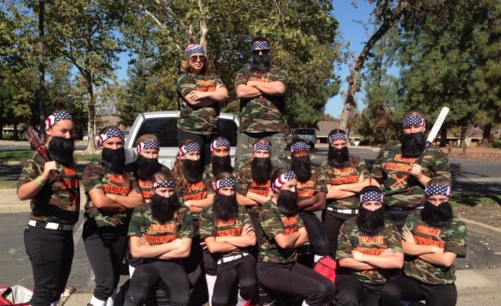 Lady Hustle Softball Team As Duck Dynasty For A Halloween Tournament.  T-Shirt Photo
