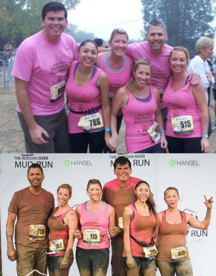 Mud Run Before And After T-Shirt Photo