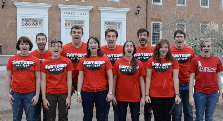 College Comedy Group Christmas Caroling T-Shirt Photo