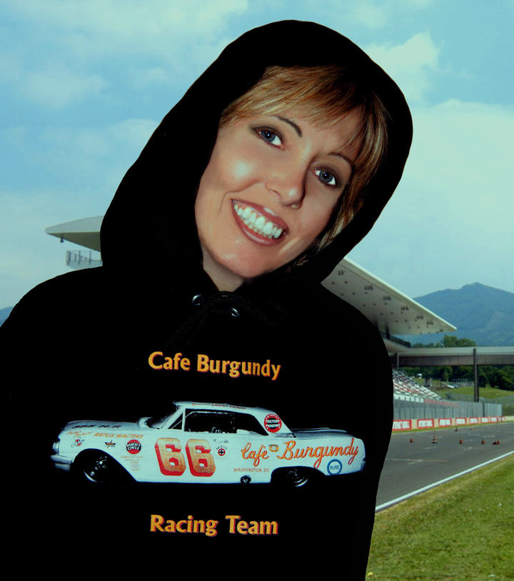 Heidi In Our Cafe Burgundy Racing Team Hoodie T-Shirt Photo