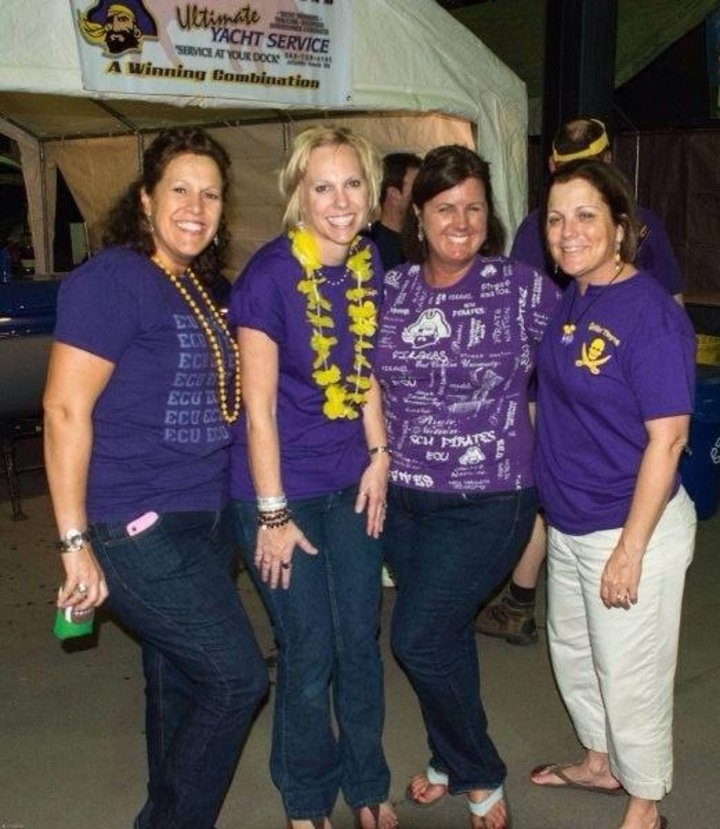 The Girls At The Pirate Purple Gold Pigskin Pigout T-Shirt Photo