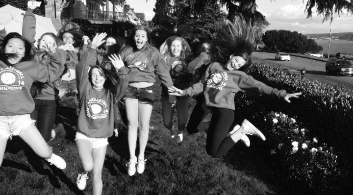 Jumping For Joy In Our Volleyball Championship Sweatshirts! T-Shirt Photo