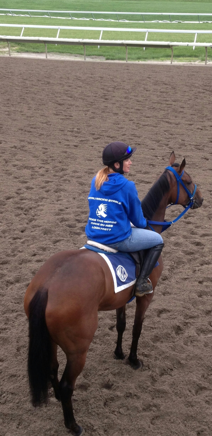 """Monmouth Park. """"Triple Arch"""" With Jenny Young In The Saddle T-Shirt Photo"""