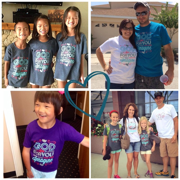 Friends All Over The Us Supporting An Orphan!  T-Shirt Photo