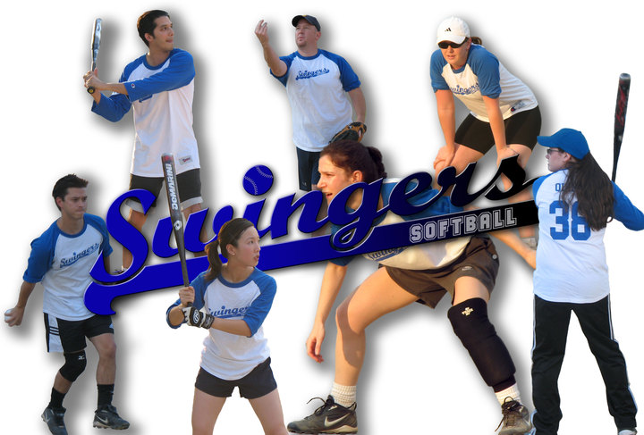 Our Co Ed Swingers Team In Action. T-Shirt Photo
