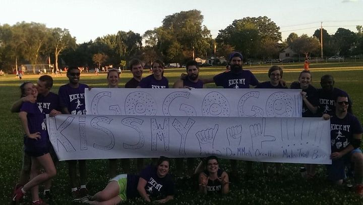 Kick My Asl (American Sign Language) Kickball Team T-Shirt Photo