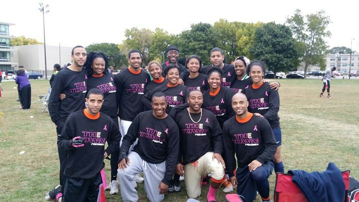The Town Flag Football Team Supports Breast Cancer Awareness Month T-Shirt Photo
