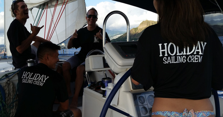 Whale Watch Sail Off Diamond Head, Hawaii  T-Shirt Photo