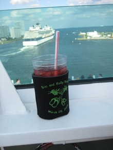 Our Wedding Koozie On Our Honeymoon! T-Shirt Photo