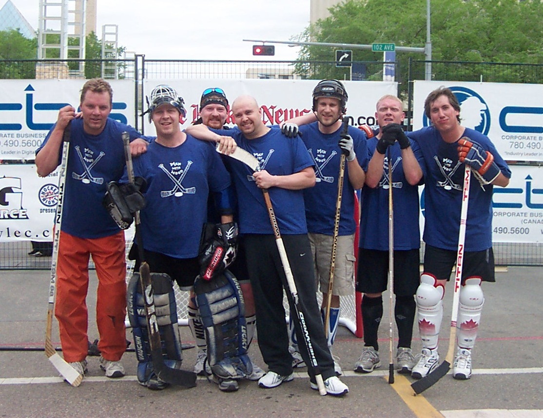 Men With Wood Street Hockey Photo