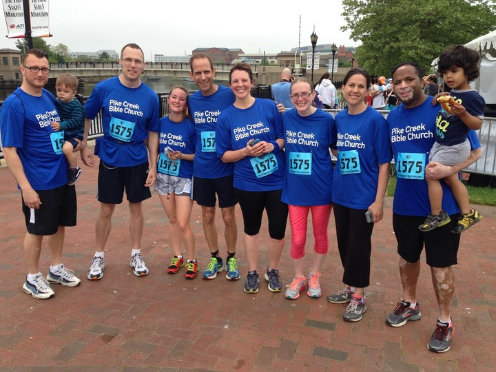 Pcbc Runners Rockin' Their Custom Ink Tech To Take 3rd Place (Co Ed Open) At The Delaware Marathon Running Festival T-Shirt Photo