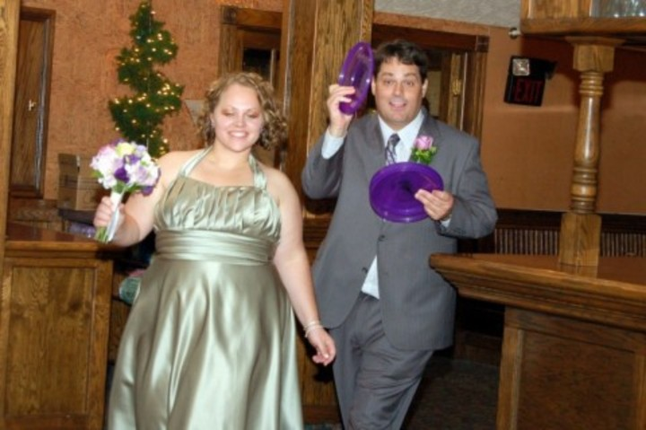 Best Man And Maid Of Honor Toss The Frisbees! T-Shirt Photo