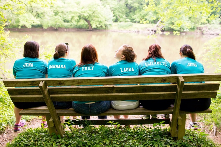 Bridesmaids On A Bench T-Shirt Photo