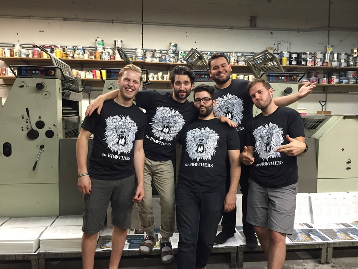 For Brothers Lion T Shirts In A Print Shop. T-Shirt Photo