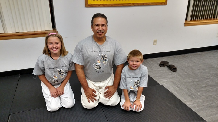 With Two Of My Aikidorats From The Meishinkan Dojo. T-Shirt Photo