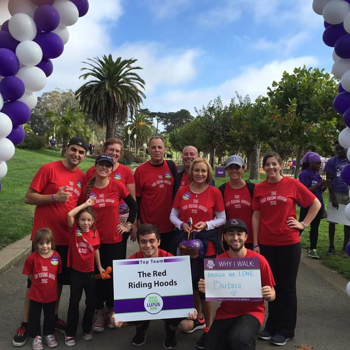 The Red Riding Hoods Walking To End Lupus Now T-Shirt Photo