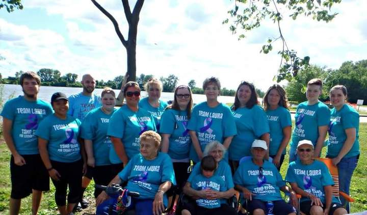 Team Laura Participating At The St. Louis Take Steps For Crohns And Colitis Walk T-Shirt Photo