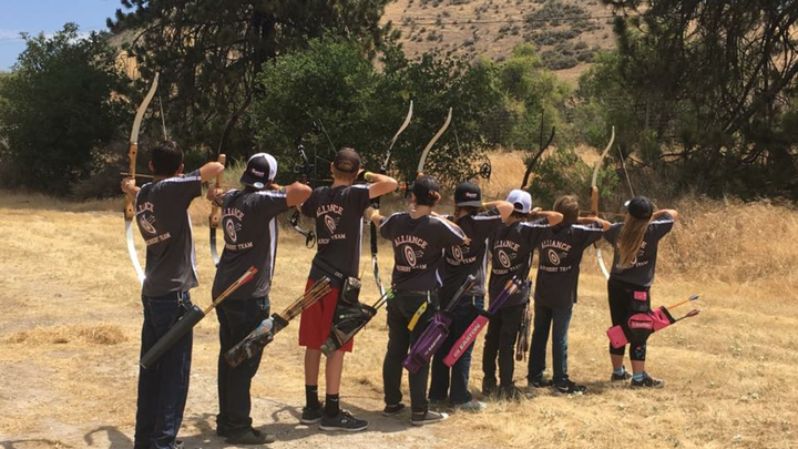 Youth Archery Team In Their New Custom Ink Shirts T-Shirt Photo