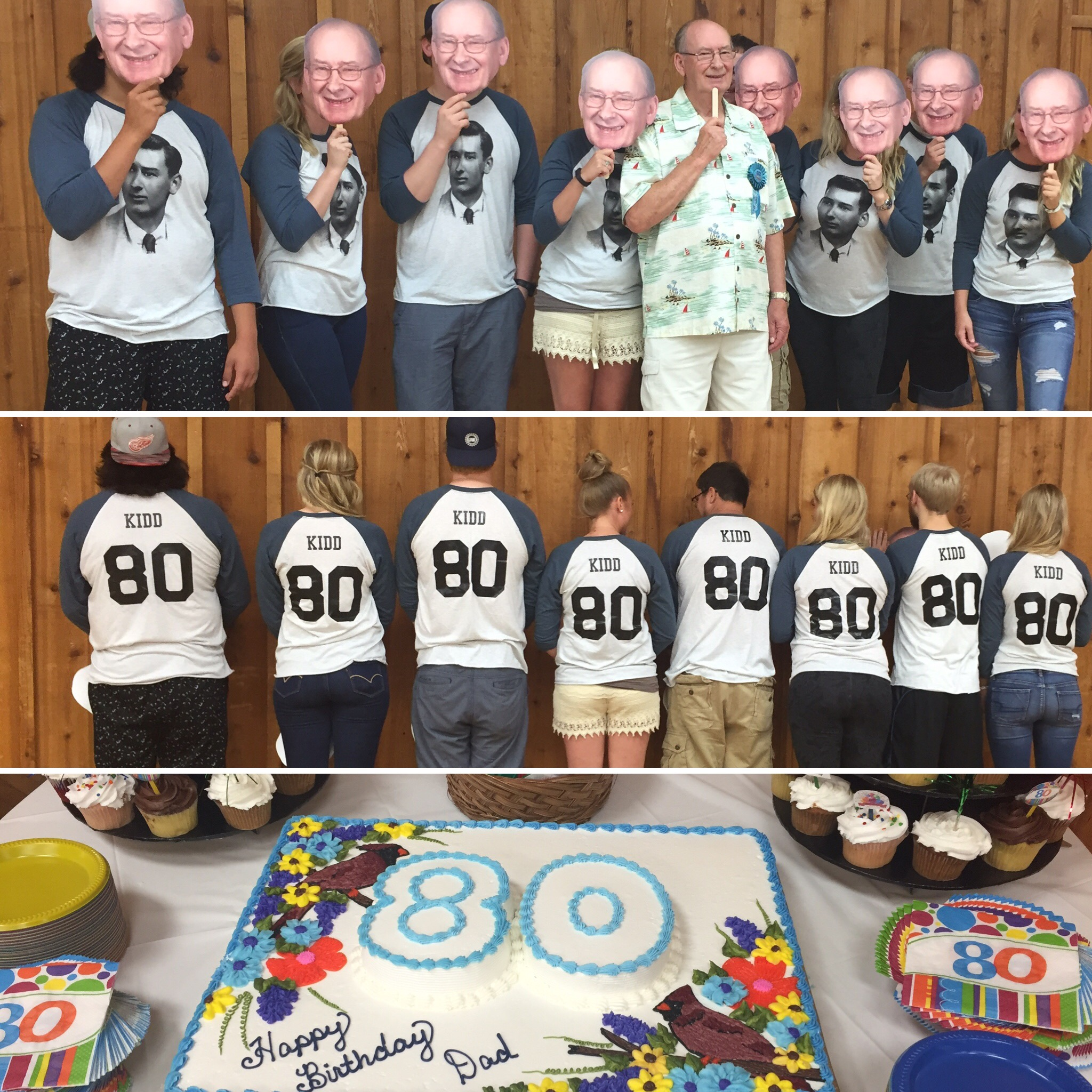 Happy 80th Birthday Grandpa George L Kidd Love Your Grandkidds T Shirt Photo