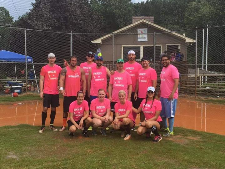 Rockers For Knockers   Kick Cancer To The Curb Charity Kickballball Tournament T-Shirt Photo