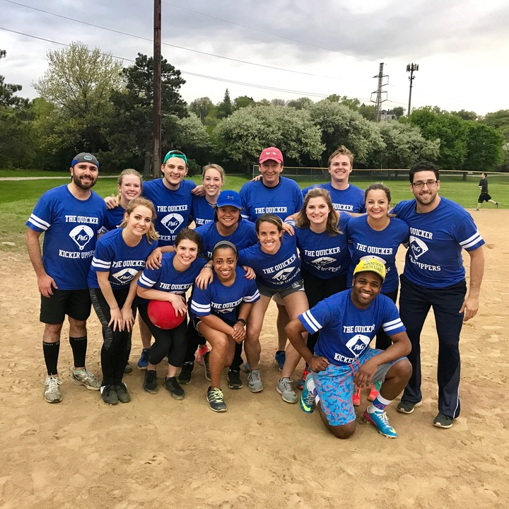 """The Quicker Kicker Uppers"" Kickball Team T-Shirt Photo"