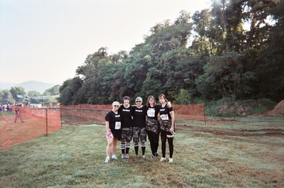 Mud Run Team   Infront Of The Pit T-Shirt Photo