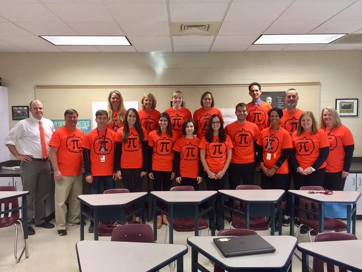 """Math Dept Does """"Pumpkin Pi"""" For Halloween T-Shirt Photo"""