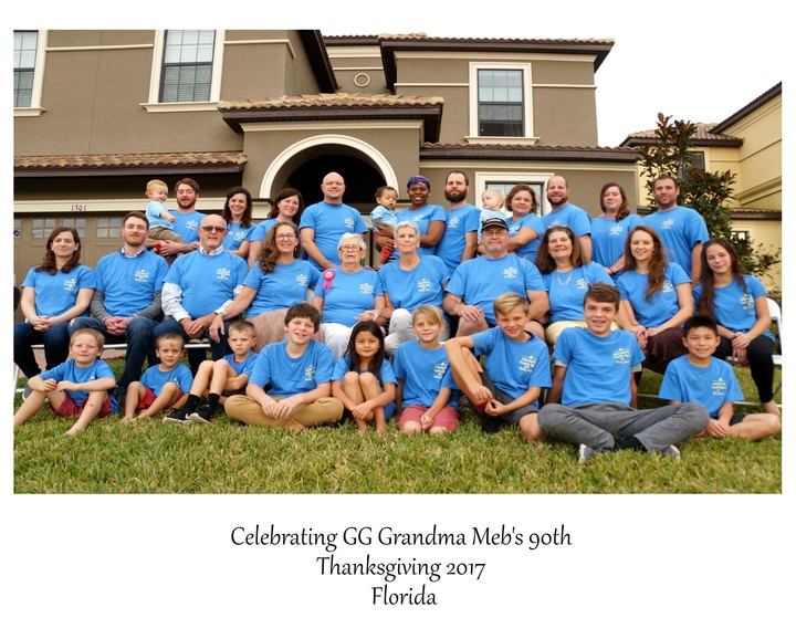 Thanksgiving With Great Grandma Meb  Celebrating 90 Years! T-Shirt Photo